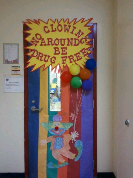 Drug free door decoration with character counts colors