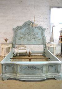 French Bed Painted Cottage Shabby Chic Queen / King / Bed ...