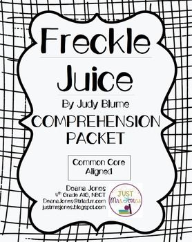 FREE Comprehension Packet for Freckle Juice by Judy Blume