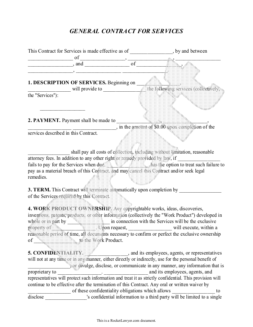 Sample General Contract For Services Form Template