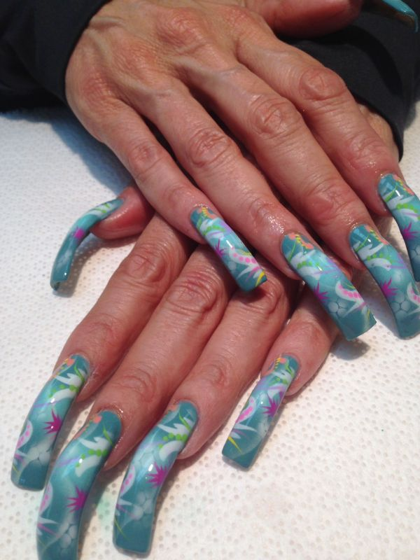 Blue Airbrush Nail Art