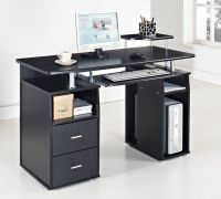 Black Computer Desk Table Furniture For Cool Black White ...