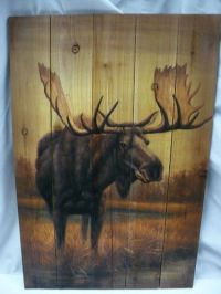 Lodge Cabin Rustic Decor Moose Wood Plank Picture Hanging ...