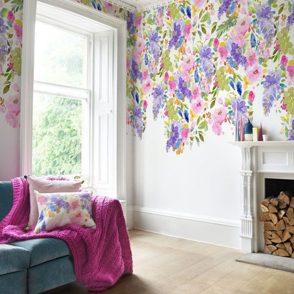Garden Wall Murals with Wisteria