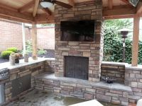 outdoor fireplace, outdoor living, outdoor kitchen ...