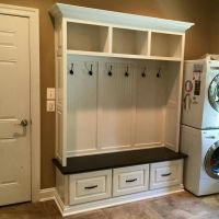 Maple mudroom bench built-in with white lacquer and ...