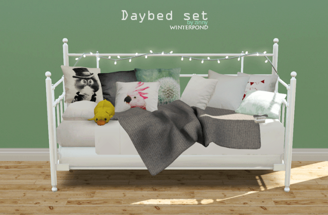 Daybed Set This Includes The Bed Cushions A Blanket String Lights