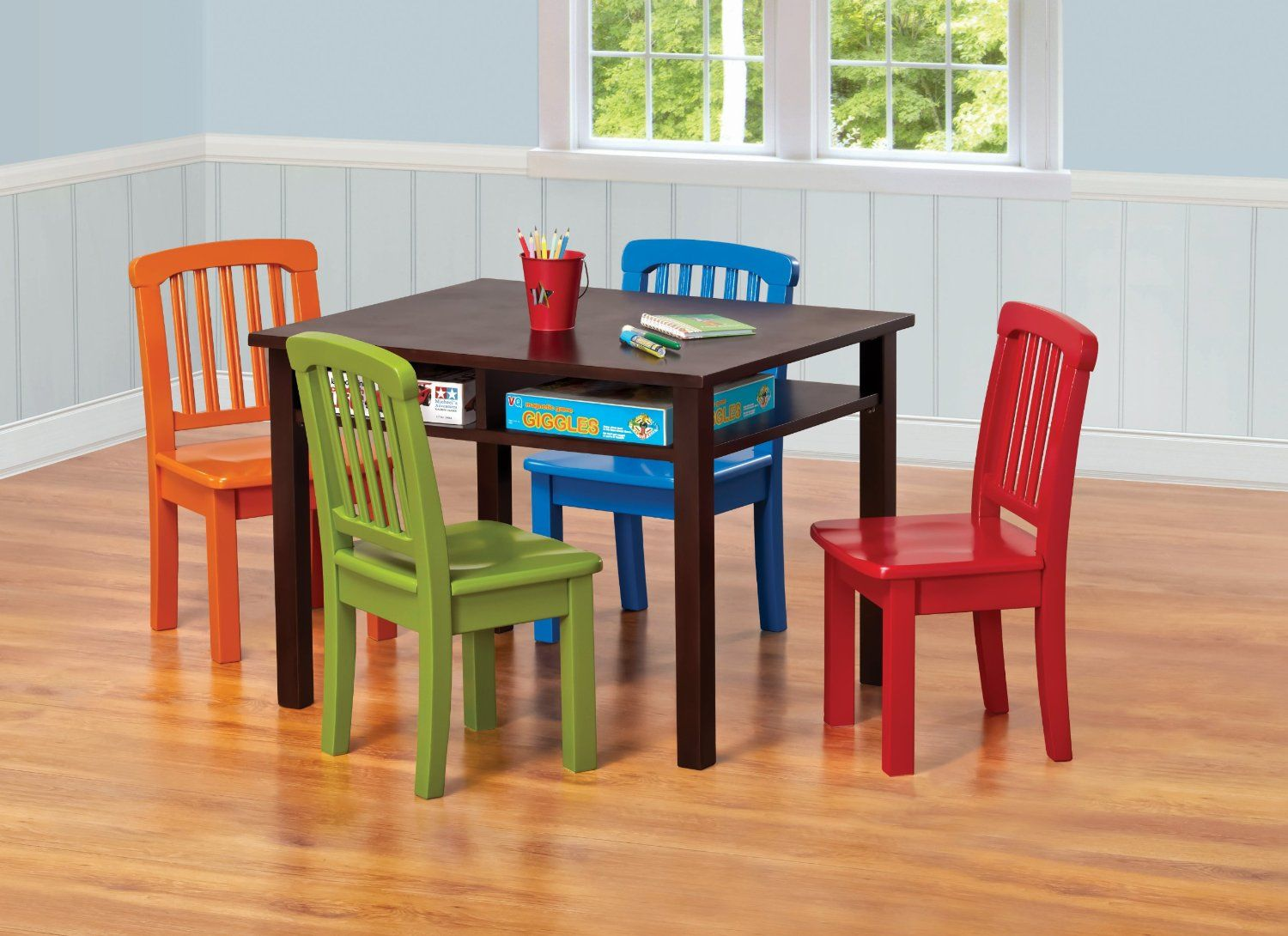 Ukid Rectangle Childrens Game Table with 4 Chairs