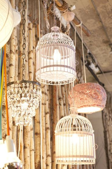 Birdcage Lighting Display Mix It Up With A Chandelier Doily Covered Lamp