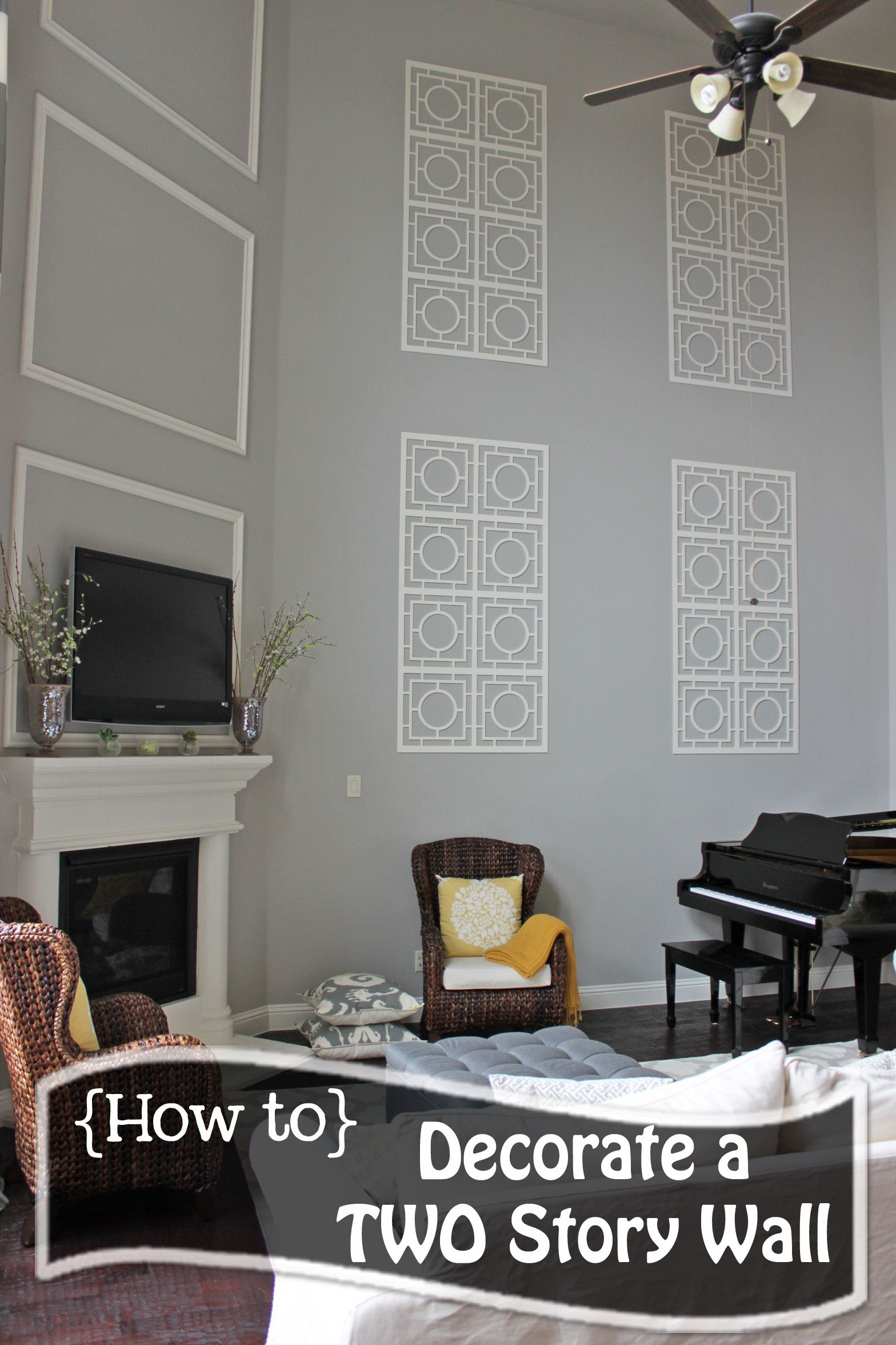 How to Decorate a TWO STORY wall! What to do with those