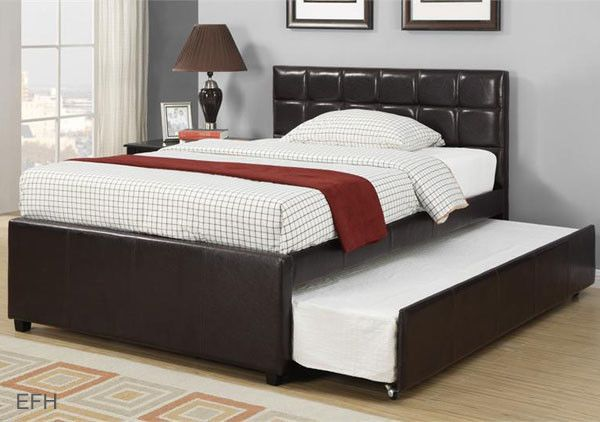 New Adena Contemporary Espresso Faux Leather Twin Full Platform Bed W Trundle