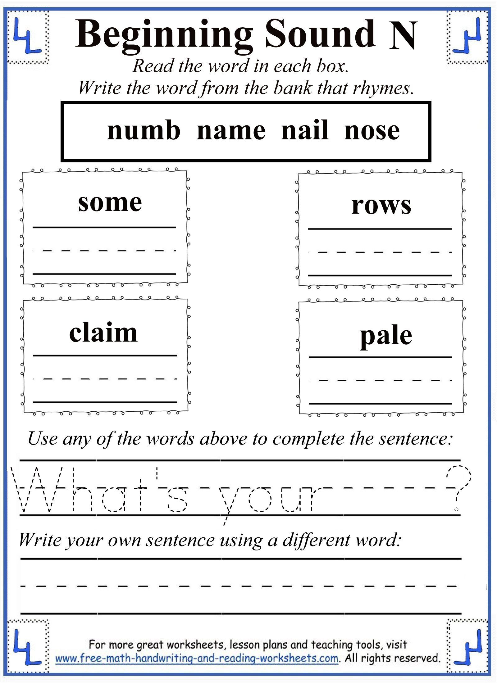 Printable Letter N Worksheets