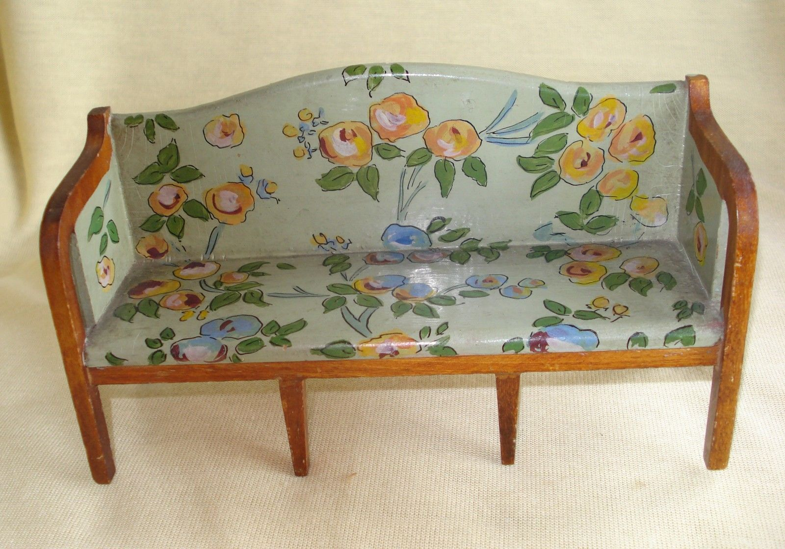 dollhouse sofa broyhill sectional costco vintage tynietoy hand painted floral sheraton