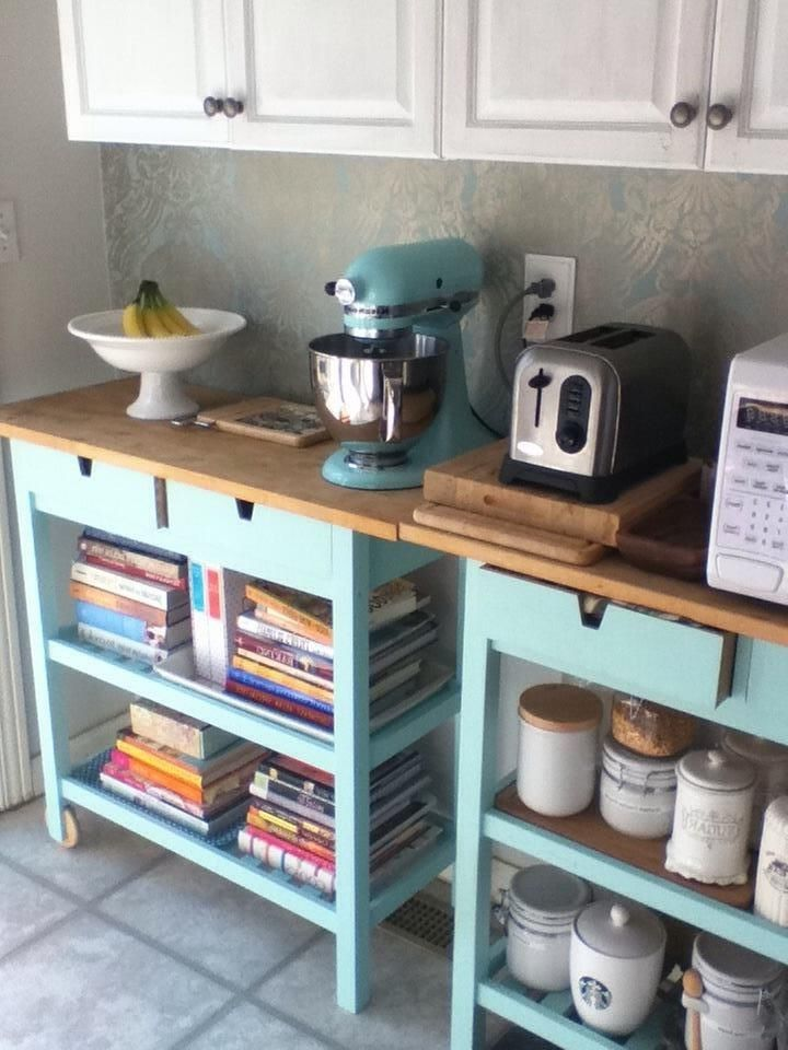 painted ikea kitchen cart and ice blue kitchenaid mixer olive