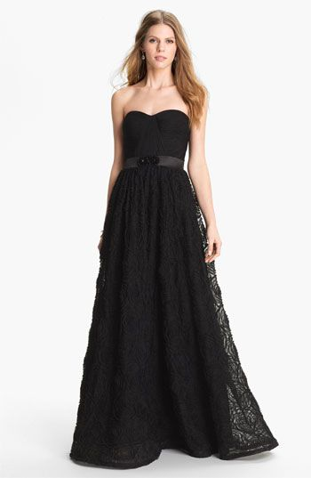 Adrianna Papell Pleat Bodice Rosette Ballgown  Nordstrom So very pretty Comes in white too