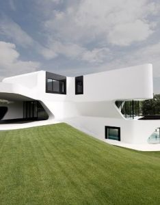 Architecture outstanding modern residence design captured from left side with fantastic and unique building   shape beautified vast green grassy area also modlandscapes pinterest rh za