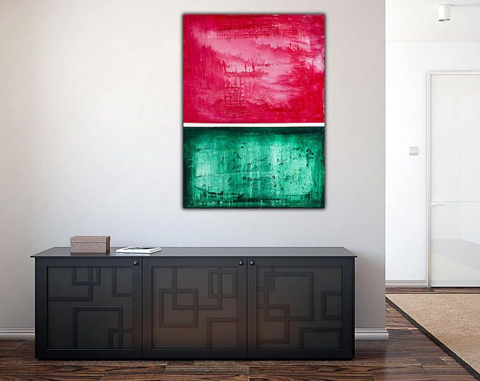 Original green abstract painting on canvas red white  modern wall art also rh pinterest