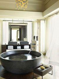 freistehende badewanne rund tief aus beton | Bathroom ...