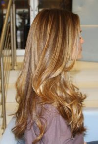 Dark/medium blonde with some caramel highlights ...