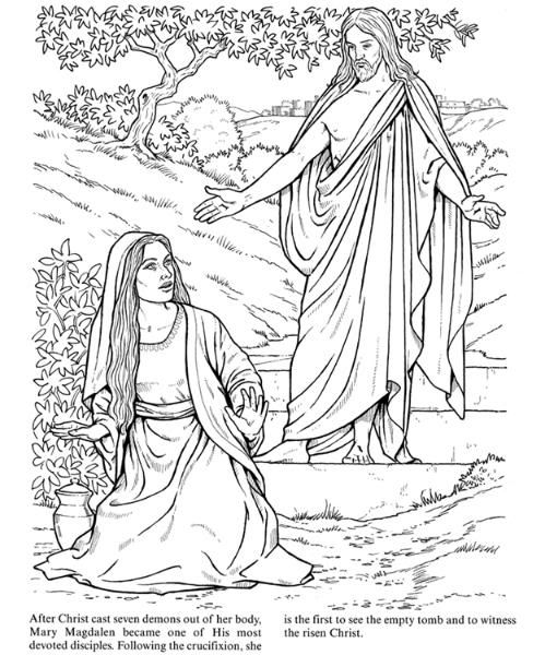 Coloring pages the empty tomb / Mary Magdalene