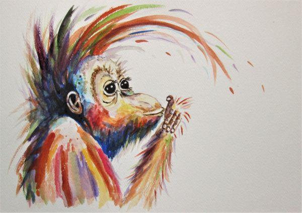 ORANGUTAN ART Monkey Art Monkey Painting Original