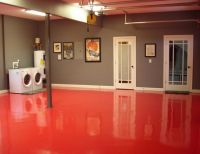 Red epoxy basement floor paint ideas | Basement ...