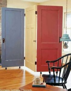 Room divider made from old doors wheels make it easy to move click the pic for many more diy home decorating ideas this would be  good idea also pin by beth mast on pinterest and rh