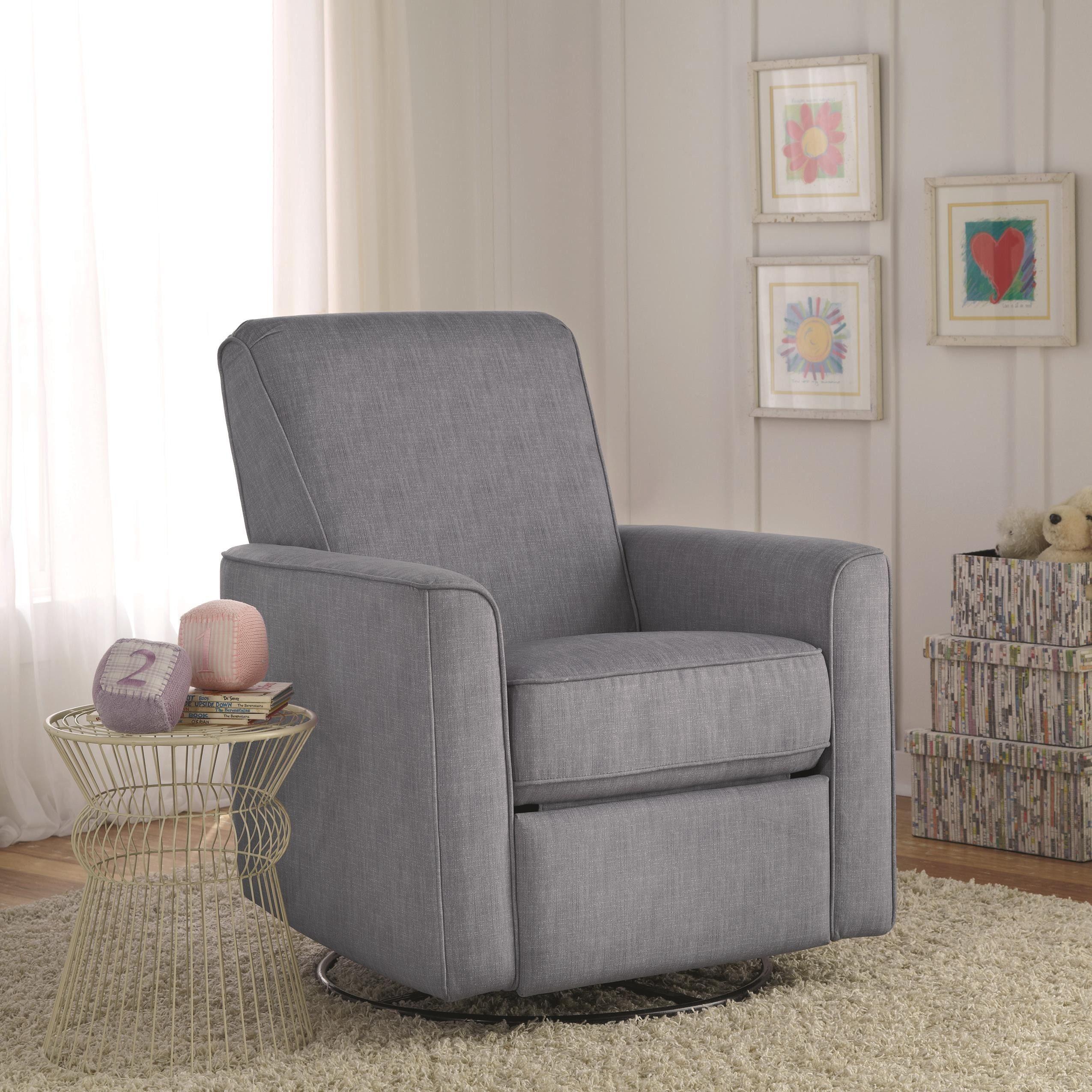 Zoey grey nursery swivel glider recliner chair is