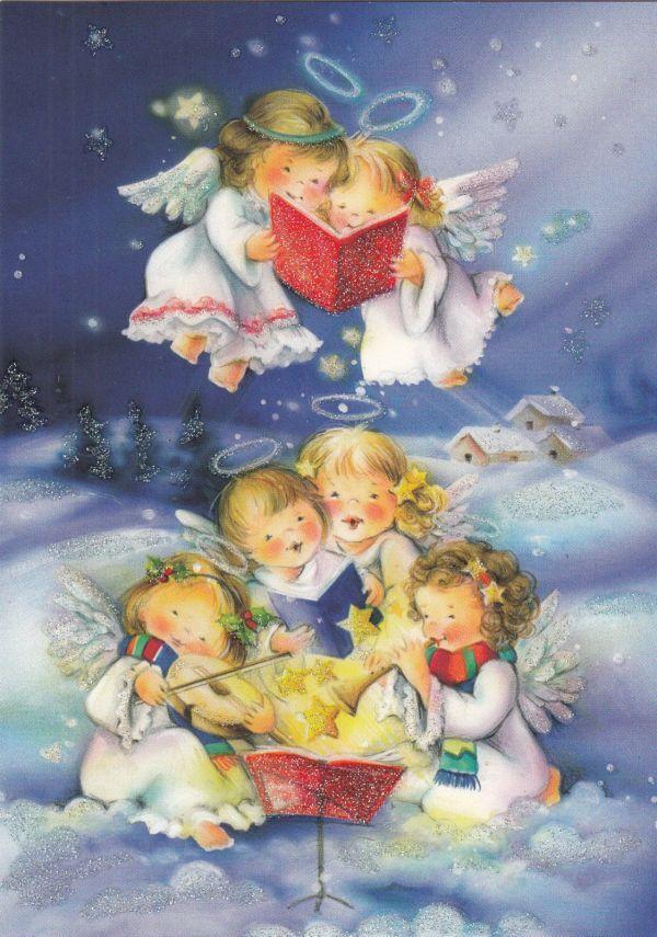 Single Christmas Card Angels Singing Cute