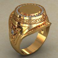 Mens Signet Ring Big Gold Signet Ring Men Diamonds Ring ...