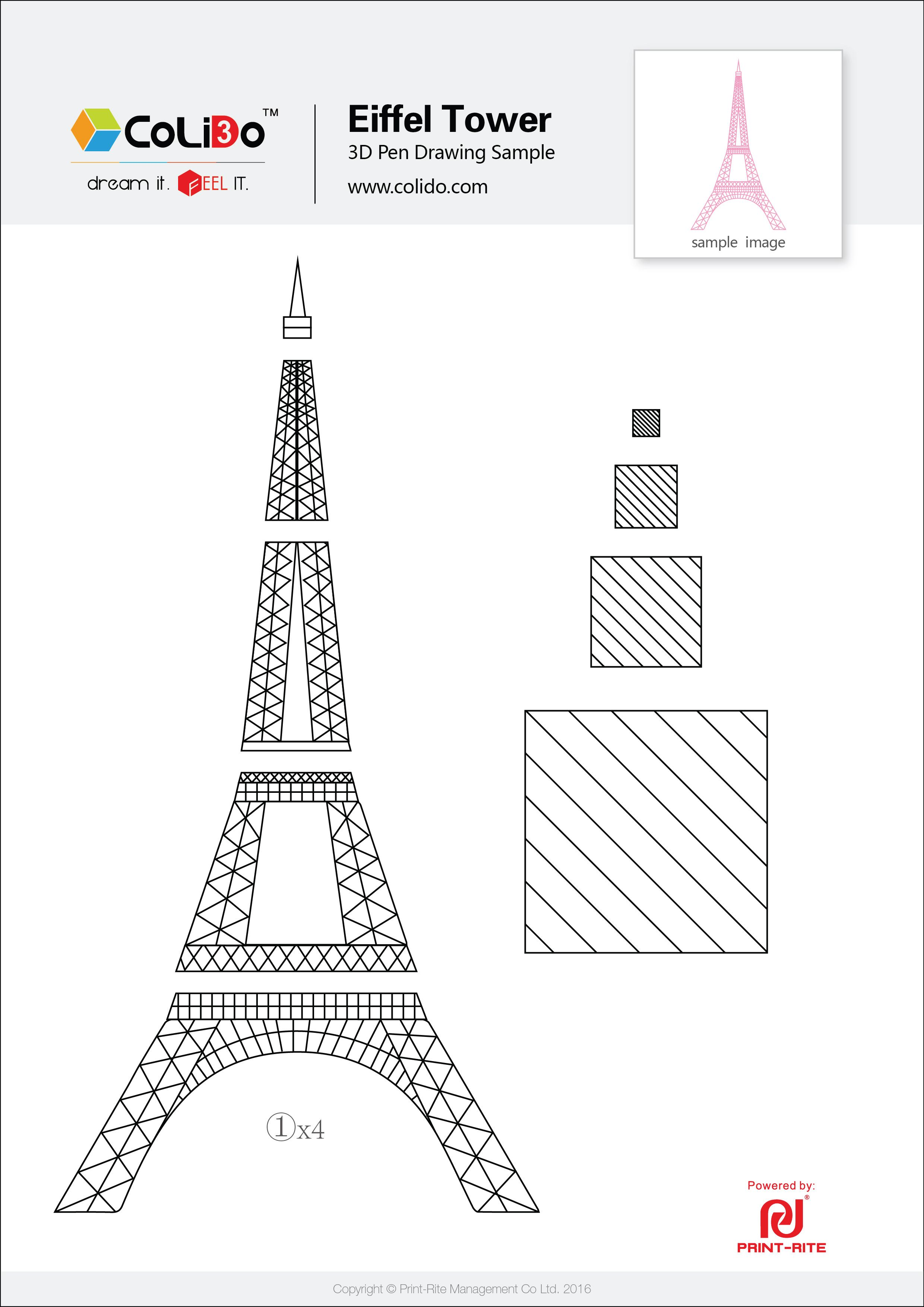 Colido 3d Pen Stencil Eiffel Tower