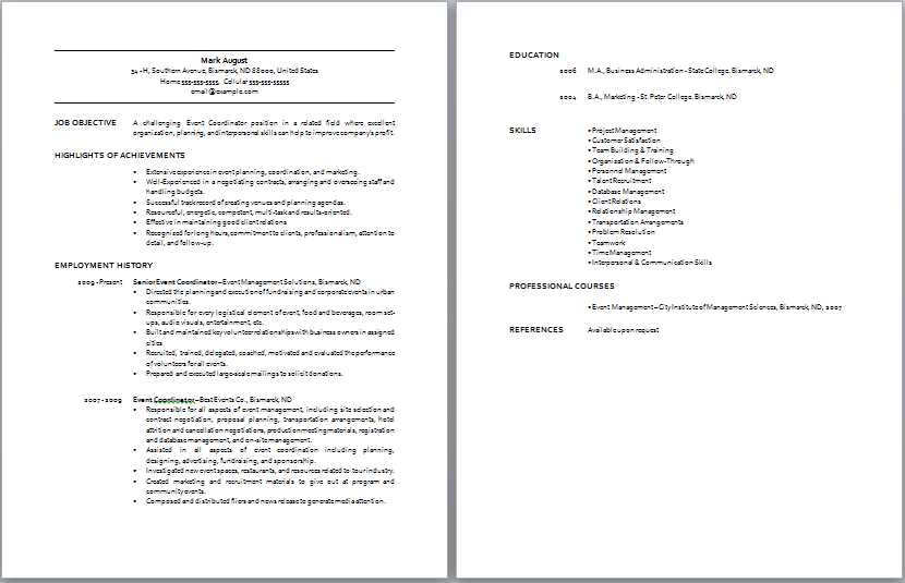 Event Coordinator Resume Sample Resume Template FkpPGMIb Sample