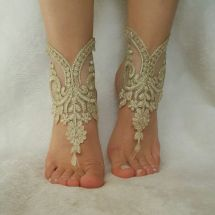 Free Ship Beach Wedding Lace Barefoot Sandals Handmade
