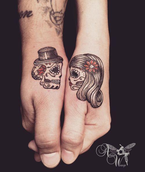 sugar skull couple tattoo - google
