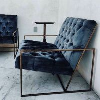 gorgeous blue velvet chair with metal frame | Home ...