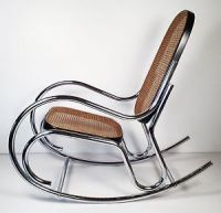 Vintage Mid Century Modern Chrome Rocking Chair Thonet ...