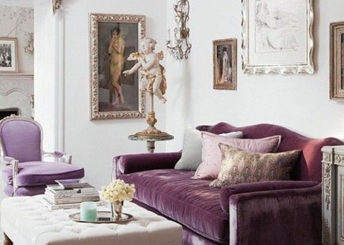 Adorable living room inspiration with one purple fabric sofa feat pillows near white ottoman coffee table on the accessories and wall paint also couch golds silvers for home pinterest