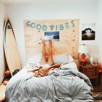 beach bedroom, teen room, surf, DIY headboard, dorm room ...