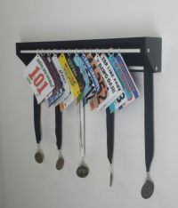Trendy Running display for race bibs and medals-Black ...