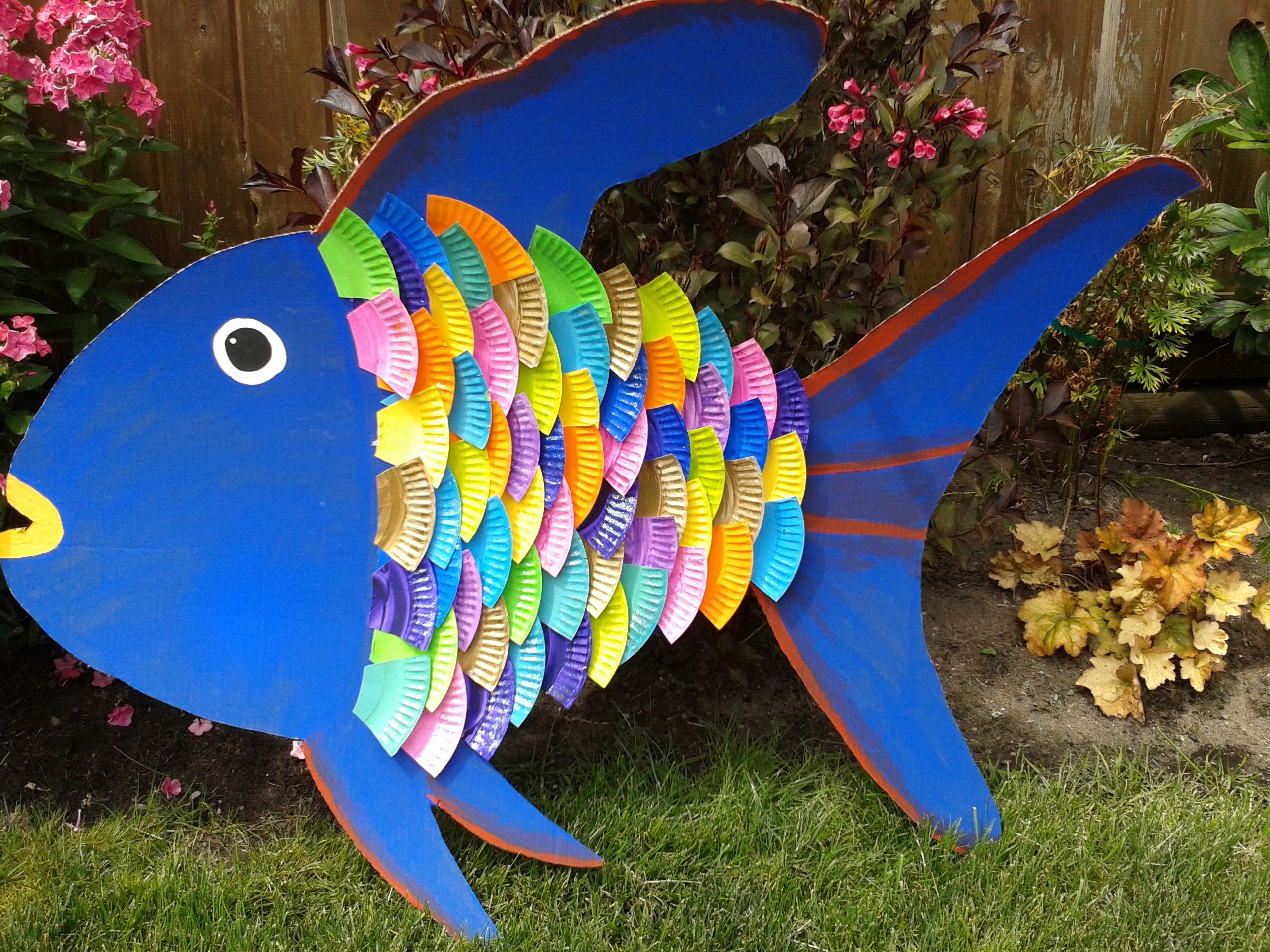 Rainbow Fish Made From Cardboard And Paper Plates Loved