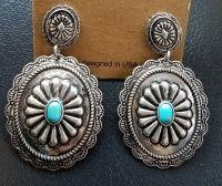 Cowgirl Gypsy CONCHO EARRINGS Faux Southwestern silver ...