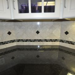 Glass Tile Kitchen Countertop Island Design Black Countertops With Backsplash This