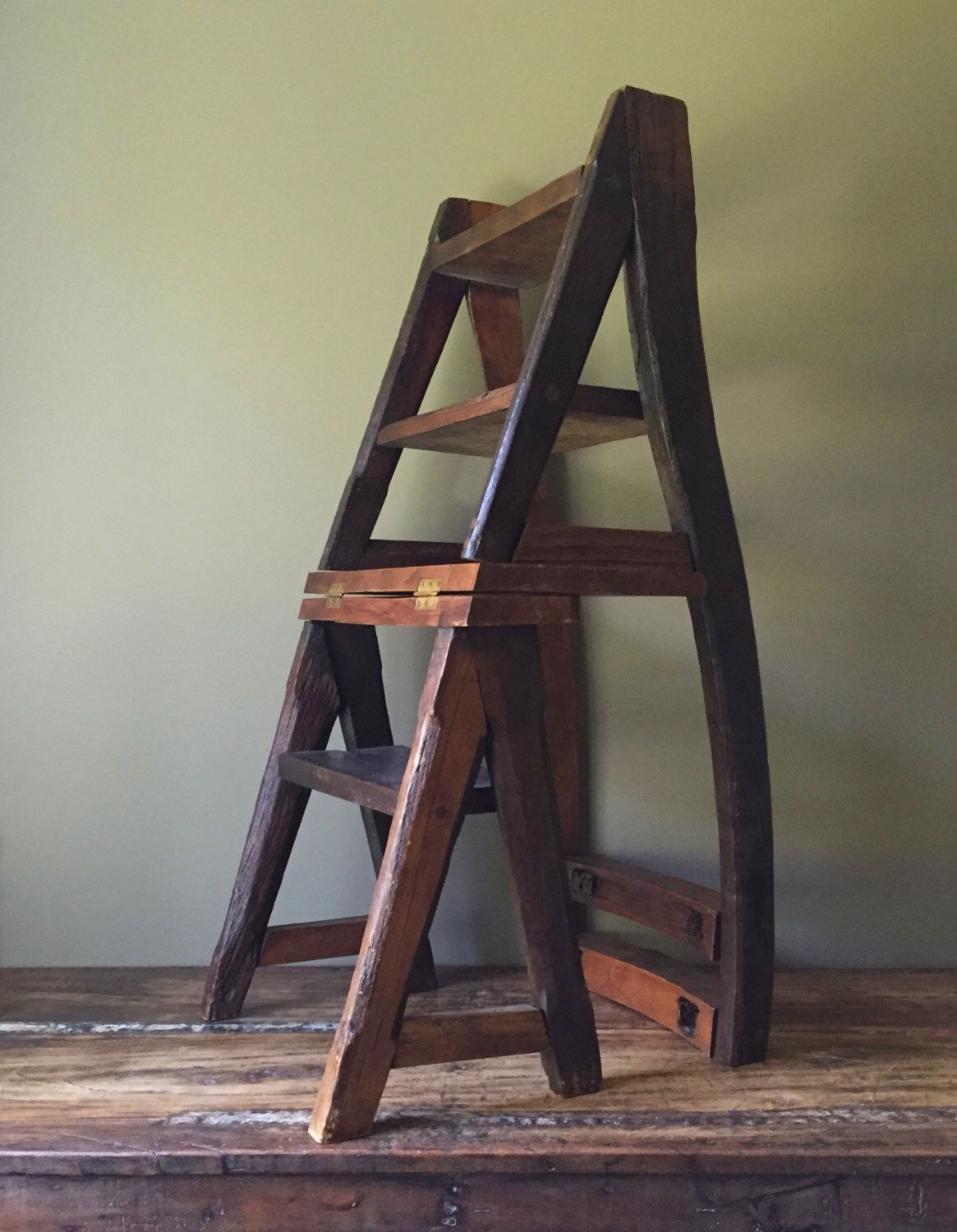 Wooden Step Stool Chair Reclaimed Primitive Wood Step Ladder Chair Rustic Ben