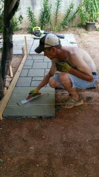 This QUIKRETE fan created an outdoor patio, using concrete ...