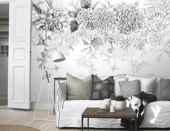 Croquis De Fleurs Papier Peint Noir Et Blanc Posie Par