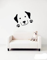 home pet dog Paw prints Wall Stickers - Cute Labrador Wall ...
