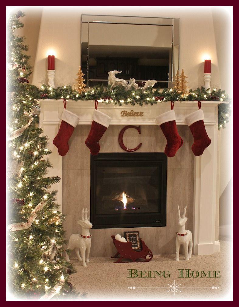 Christmas Fireplace Mantels on Pinterest  Christmas Fireplace Decorations Christmas Mantel