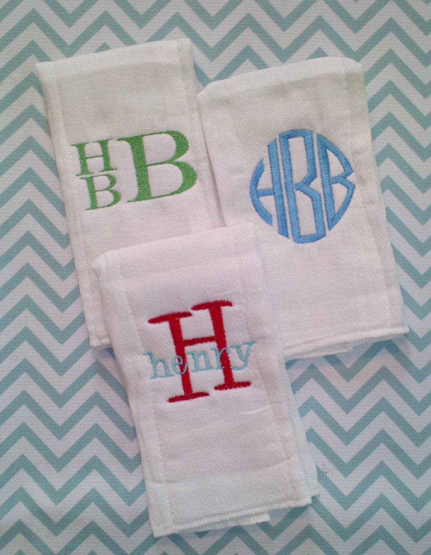 monogrammed baby burp cloths