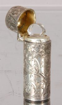 Sterling Silver Perfume Bottle, With glass insert stopper ...