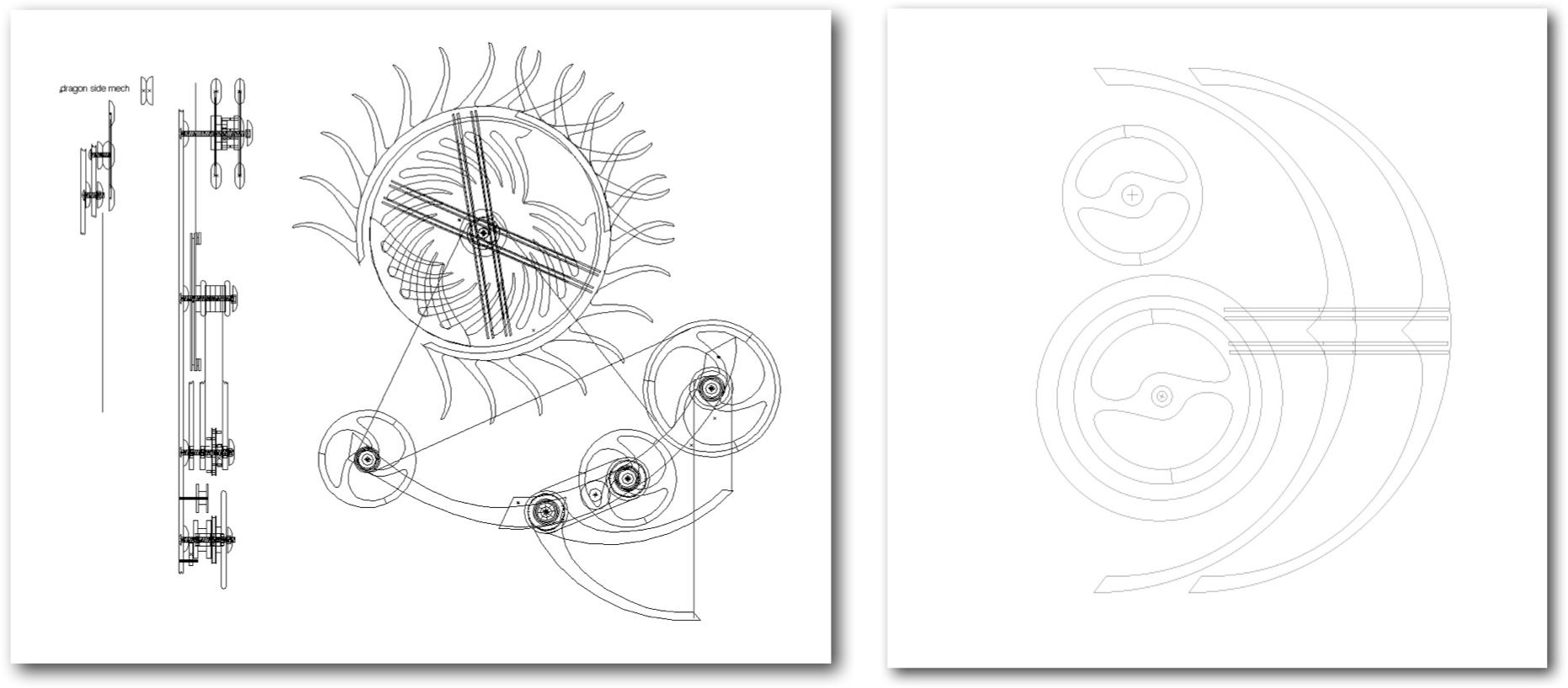 Design drawings completed by kinetic sculptor David C. Roy